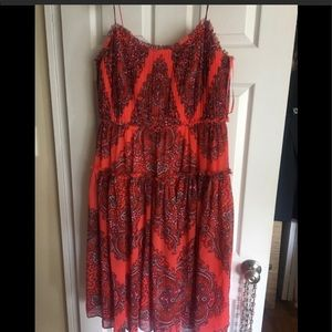 Banana Republic Coral Paisley Dress, Size Large